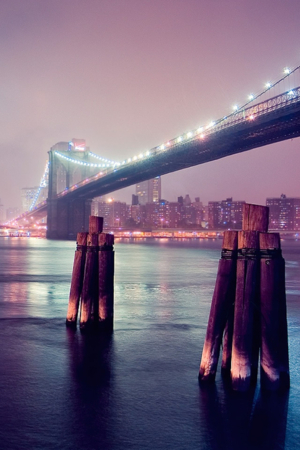 Night Lights Bridge Pink IPhone Wallpaper Mobile Wallpaper