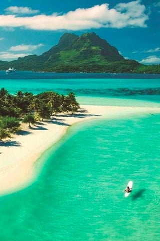 Beach On Bora Bora In French Polynesia IPhone Wallpaper Mobile Wallpaper