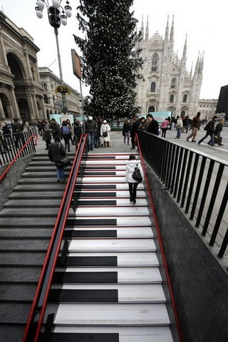 Musical Stairs Piano Milans Italy IPhone Wallpaper Mobile Wallpaper