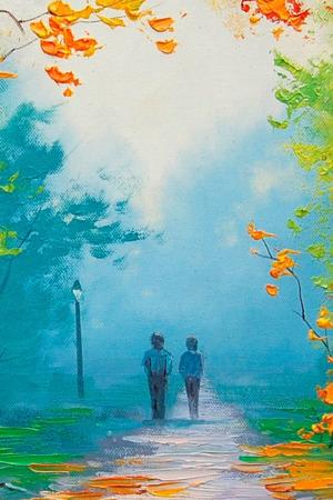 Autumn Couple Walking IPhone Wallpaper Mobile Wallpaper