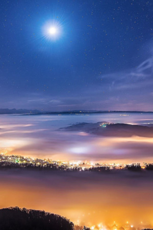 Foggy Town & Moon Nature IPhone Wallpaper Mobile Wallpaper