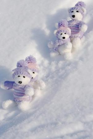Teddy Bears Winter Happy IPhone Wallpaper Mobile Wallpaper