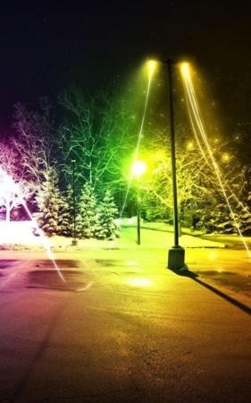 3D Dancing Colors Street Night Trees IPhone Wallpaper Mobile Wallpaper