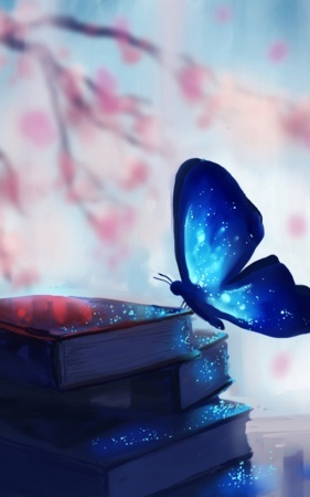 Blue Fantasy Butterfly Over Book IPhone Wallpaper Mobile Wallpaper