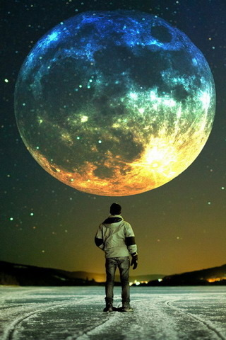 Colors Space Aamazing Watching Man IPhone Wallpaper Mobile Wallpaper