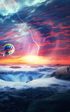 Air Balloon Sunset & Heaven Sea IPhone Wallpaper Mobile Wallpaper