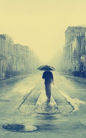 Download Lonely Boy On Raining Road Iphone Wallpaper