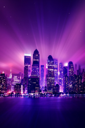Purple City Building Lights Night IPhone Wallpaper Mobile Wallpaper