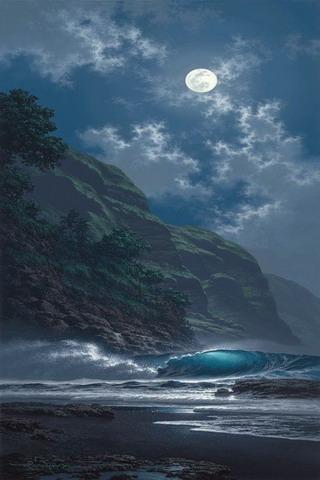 Ocean Waves Night Moon Lake IPhone Wallpaper Mobile Wallpaper