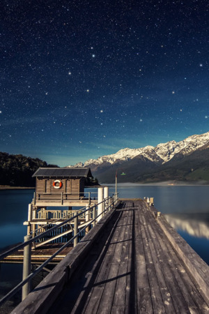 Wooden Dock Lake Pier Mounatin Snow IPhone Wallpaper Mobile Wallpaper