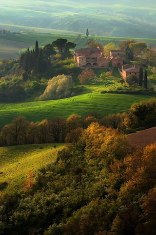 House In Nature Mountain Tuscany Italy Mobile Wallpaper