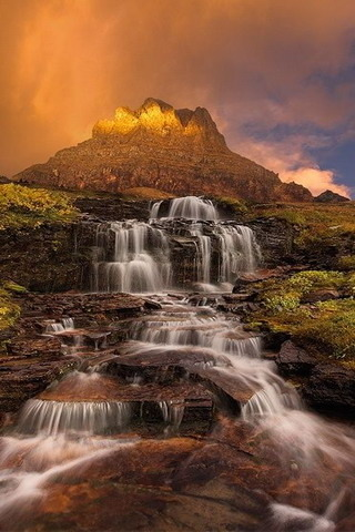 Waterfall Clements Mountain Sunset USA IPhone Wallpaper Mobile Wallpaper