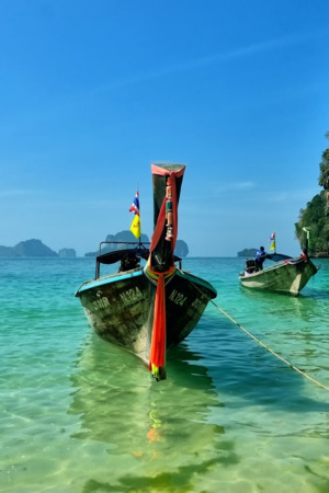 Railay Beach Thailand Nature Boat IPhone Wallpaper Mobile Wallpaper