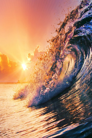 Surfing Waves Sunset Evening Nature IPhone Wallpaper Mobile Wallpaper