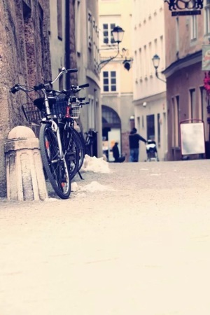 Bicycle On Street Lovely View IPhone Wallpaper Mobile Wallpaper