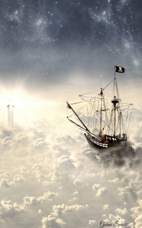 Ship Over Clouds Dreamland IPhone Wallpaper Mobile Wallpaper