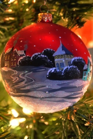 Christmas Balls House IPhone Wallpaper Mobile Wallpaper