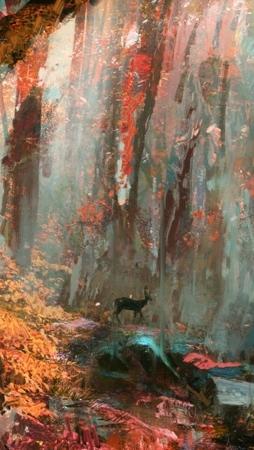 Forest Art 3D Deer Rainy Nature IPhone Wallpaper Mobile Wallpaper