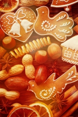 Christmas Gingerbread Cookies Sweets IPhone Wallpaper Mobile Wallpaper