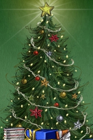 Christmas Tree And Gift Santa IPhone Mobile Wallpaper