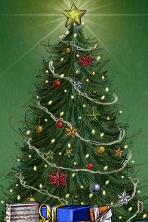 Christmas Tree And Gift Santa IPhone Mobile Wallpaper