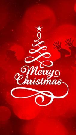 Red Merry Christmas Happy New Year IPhone Wallpaper Mobile Wallpaper