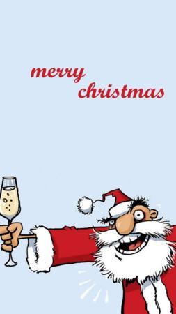 Santa Drinking And Merry Christmas IPhone Wallpaper Mobile Wallpaper