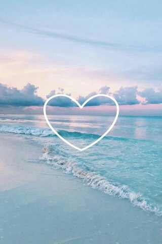 Heart And Beach Nature  Mobile Wallpaper