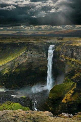 Wonderful Water Falls Mountain Night IPhone Wallpaper Mobile Wallpaper