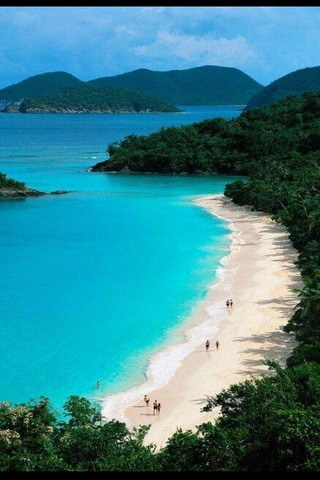 Beautiful Green Beach Water And Mountain Mobile Wallpaper