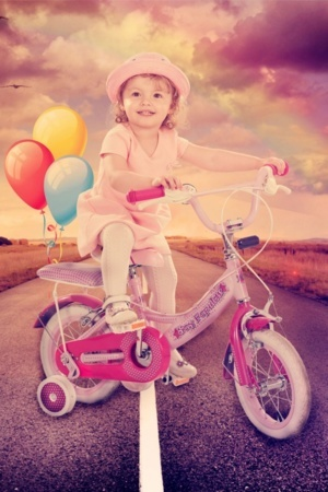 Cute Girl On Cycle With Balloons IPhone Wallpaper Mobile Wallpaper