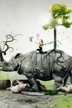 Lovely Art 3D Girl On Elephant IPhone Wallpaper Mobile Wallpaper