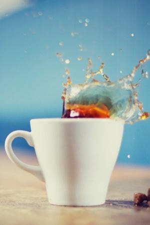 White Tea Cup Splash IPhone Wallpaper Mobile Wallpaper