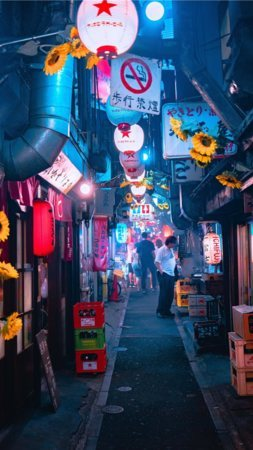 Chines City Tokyo Nights Street Light Colors Mobile Wallpaper