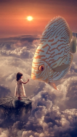 Fish And Girl In Clouds Sky Abstract IPhone Wallpaper Mobile Wallpaper