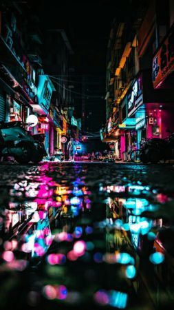 Chines Food Street Night Vision IPhone Wallpaper Mobile Wallpaper