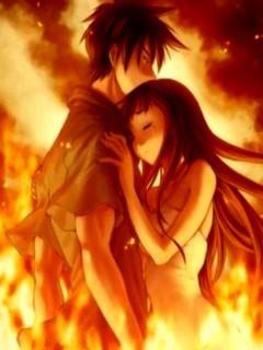 Anime Fire Love Mobile Wallpaper
