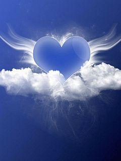 Angle Blue Heart Mobile Wallpaper