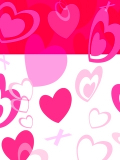 White And Red Hearts Mobile Wallpaper
