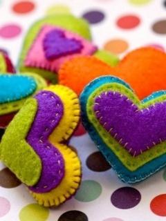 Colorfull Hearts Mobile Wallpaper