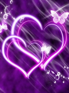 Purple Hearts Mobile Wallpaper