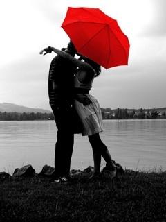 Love Under Umbrella Mobile Wallpaper