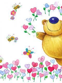 Bear Flower Mobile Wallpaper