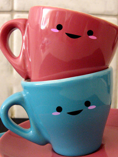 Cute Love Cup Mobile Wallpaper