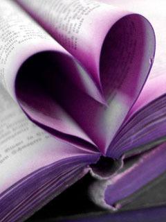Purple Book Heart Mobile Wallpaper