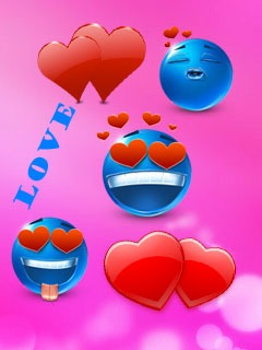 Cute Love Hearts Mobile Wallpaper
