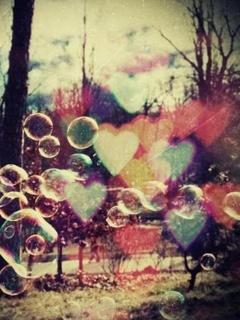 Bubbles Hearts Mobile Wallpaper
