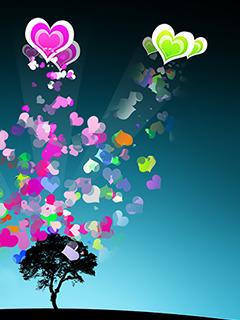 Cute Colors Hearts Mobile Wallpaper