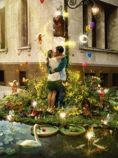 Kissing Happy Lovers Mobile Wallpaper