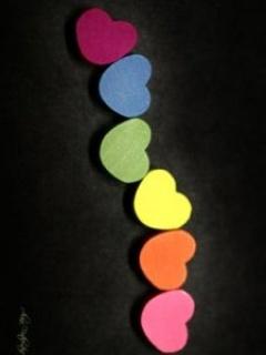 Rainbow Hearts Mobile Wallpaper